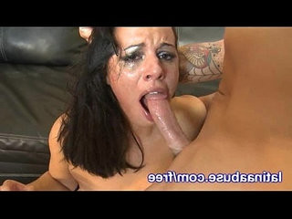 Thick Latina babe Gets Rough Throatjob