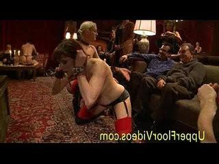 Slaved party with rough bondage sex