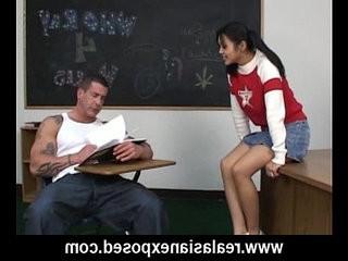 Asian fucks her pervert teacher