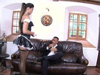 Perfect sexy teen maid eagerly fucked hard on sofa till cumshot by big dick