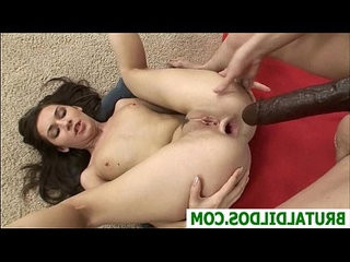 Cute young brunette Ashley has her ass gaped by friend with round huge strapon dildo