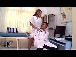 Sexy nurse abbie cat stuffs her mouth with huge cocks