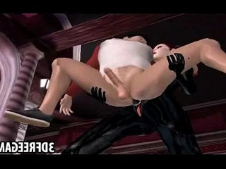 This guy gets fucked by two hot babe in 3D leather suits