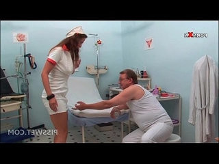 Hot nurse pissing in a glass for gynecologists exam